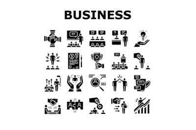 Business Situations Collection Icons Set Black Vector