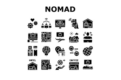 Digital Nomad Worker Collection Icons Set Vector