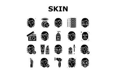 Facial Skin Care Treat Collection Icons Set Vector