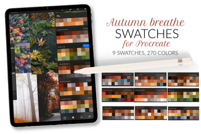 Autumn Procreate color palette. Autumn pumpkin swatches