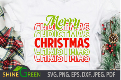 Merry Christmas SVG Stacked Font DXF EPS PNG Cut File