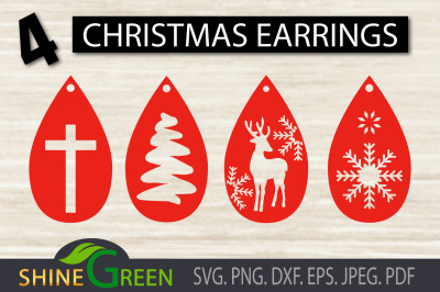 Christmas Earrings SVG, Earring Templates SVG Cut File