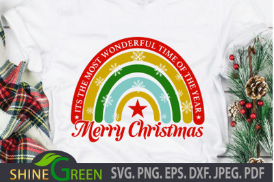 Merry Christmas SVG Rainbow DXF Cut File