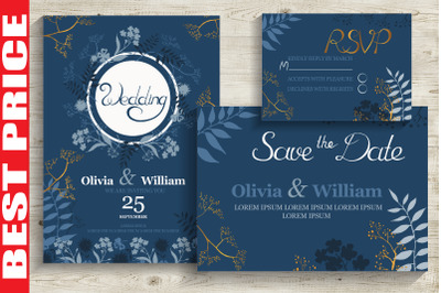 Blue&Gold Wedding Invitation Cards