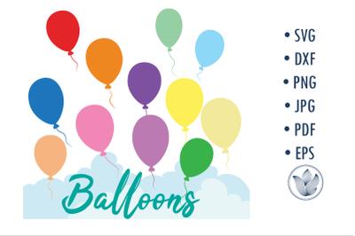 Balloons Svg, Clouds cut file, sublimation design
