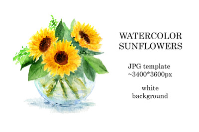 Watercolor sunflowers painting in high resolution