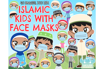 Islamic/Muslim Kids with Face Masks Clipart - Lime and Kiwi Designs