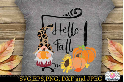 Hello Fall Gnomes SVG, Thanksgiving Gnomes SVG, Gnome SVG, Pumpkin SVG