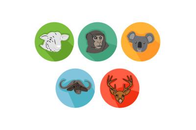 Bull Friends Cartoon Animals Icon Bundle