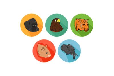 Gorilla Friends Cartoon Animals Icon Bundle