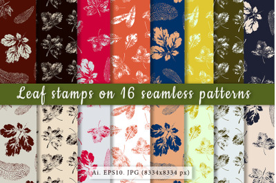 Leaf prints in 16 seamless patterns