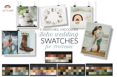 Boho wedding Procreate color palette. Bohemian Procreate swatches.Boho