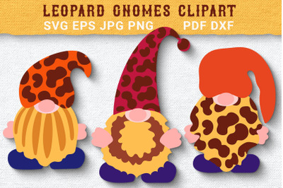 Trendy Leopard Gnomes SVG Clipart. Cut Files