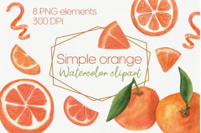 Burnt orange PNG watercolor. Orange slice citrus clipart