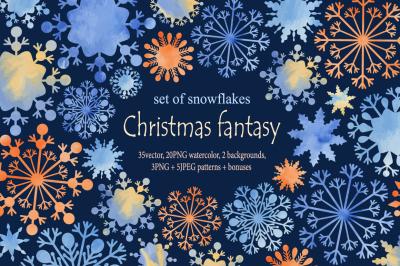 Christmas fantasy. Set of snowflakes2