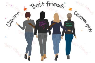 Best friends clipart Girls back view Custom girls Jeans Girl