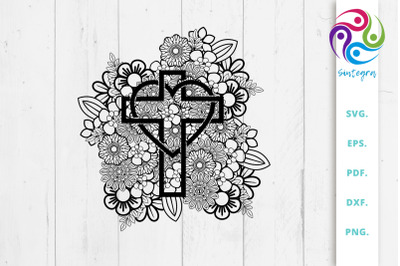 Floral Cross With Heart Svg File