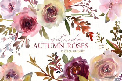 Watercolor Autumn Roses Flowers Png