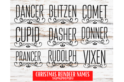 Christmas Reindeer Name SVGs | Ornaments Svgs | Instant Download
