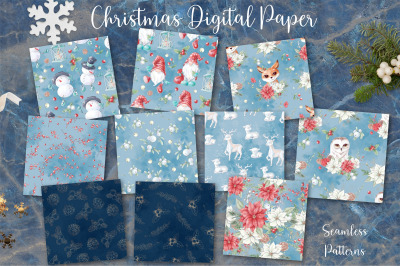 Christmas watercolor digital paper seamless patterns on watercolor bac