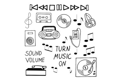 music hand drawn set sketh doodle style