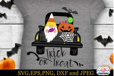 Halloween Gnome in the Truck SVG, Gnome Trick Or Treat SVG, Cricut SVG