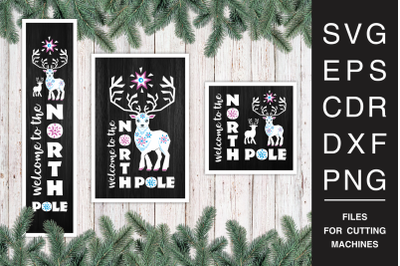 Christmas Porch Signs set with reindeer SVG