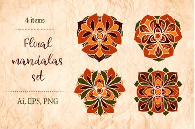 Floral mandalas set