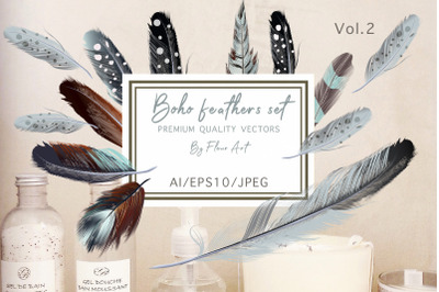Bohemian mood vector feathers set