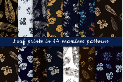 Leaf prints in 14 seamless patterns