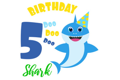 5th Birthday shark Svg, Boy Birthday Shark clipart, funny shark svg, b