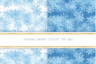 Snowflakes seamless patterns