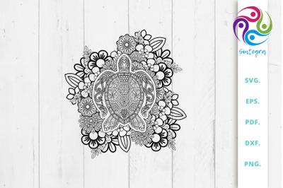 Floral Zen Tangle Turtle Svg File