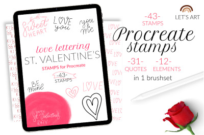 Valentine's Day Procreate stamps. Love quotes brushes, st. Valentine's
