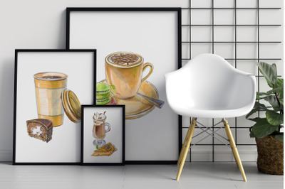 Coffee and cakes bundle, vector