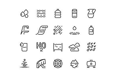 Water line icons. Bottle and glass of liquid, rain drops clouds and sh