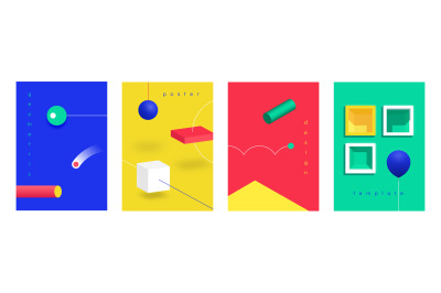 Abstract 3D posters. Isometric futuristic technology banners with geom