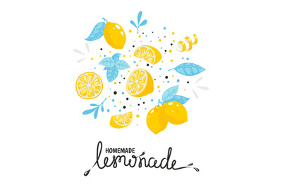 Homemade lemonade hand drawn typography. Summer cold cocktail with lem