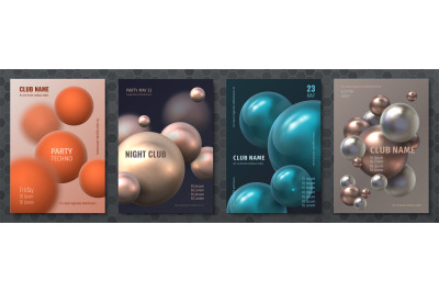 Abstract sphere poster. Modern brochure with realistic 3D plastic ball