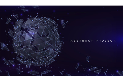 Sphere particles background. Futuristic banner with abstract geometric