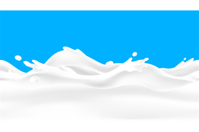 Milk wave background. Seamless liquid yoghurt flow with drops and spla