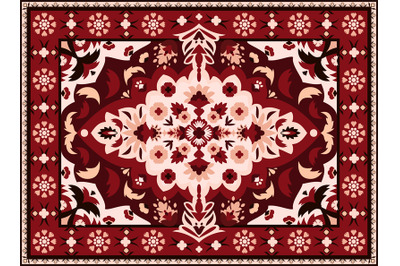 Indian rug. Persian textile carpet design, royal arabesque pattern for