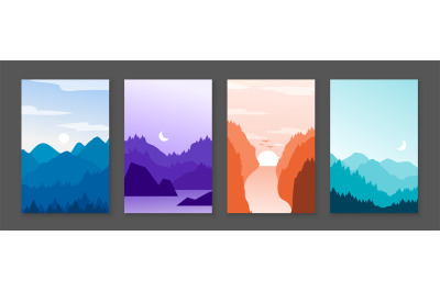Mountains posters. Rocky mountains and snowy peaks, banners with carto