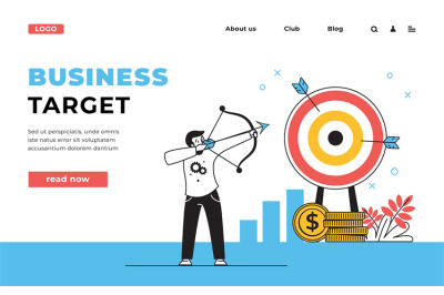 Target web page. Business strategy landing page with office workers te