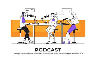 Podcast interview. Blogger or radio host interviewing guest and stream
