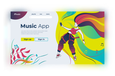 Music landing page. Happy cartoon characters listening to music and po