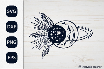 Crescent moon stars svg, Sun and Moon SVG for t-shirt design