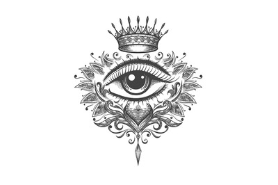 All Seeing Eye with Crown Tattoo