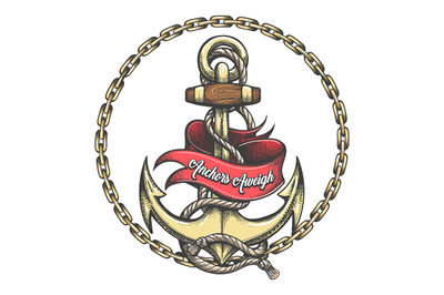 Tattoo of Anchor and Ribbon with Lettering Anchors Aweigh