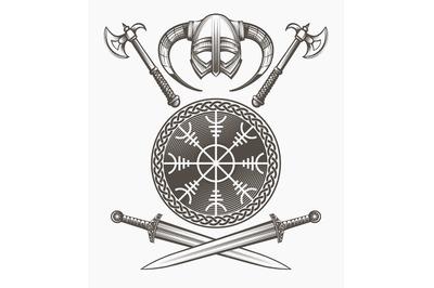 Viking Helmet and Weapons Set